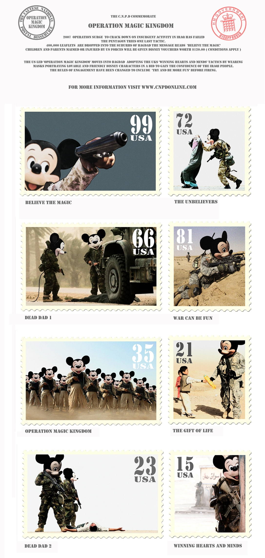 James Cauty Operation Magic Kingdom Mickey Mouse Iraq War 2007 oak comp
