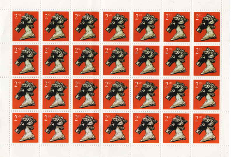 James Cauty Stamps of Mass Destruction 2nd class queen in gas mask Scan copy