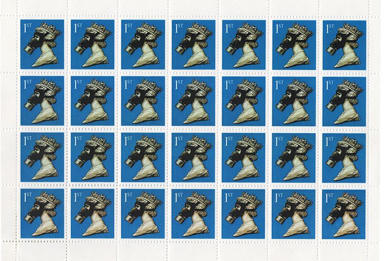 James Cauty Stamps of Mass Destruction 1st class queen in gas mask Scan