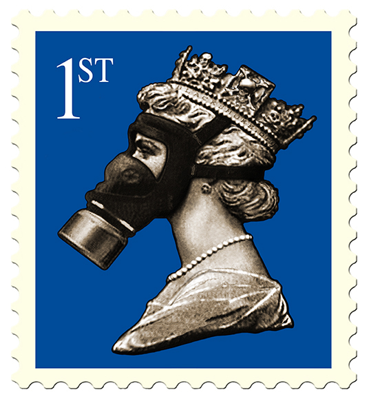 James Cauty Stamps of Mass Destruction Queen in a gas mask