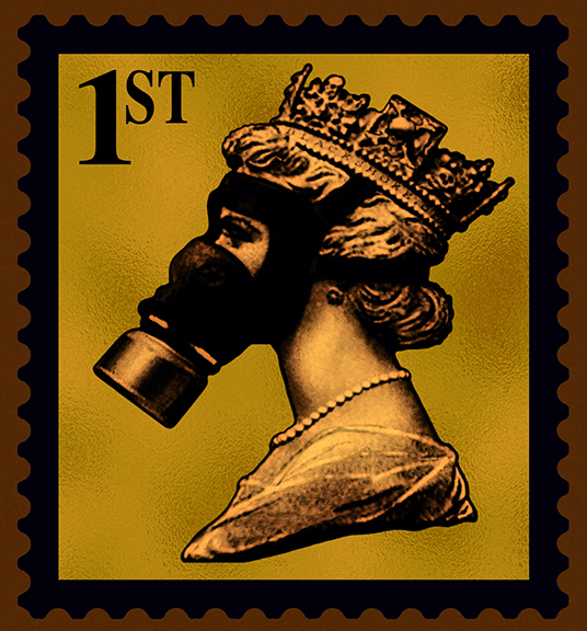 James Cauty Stamps of Mass Destruction queen in a gas mask SMD 1st gold