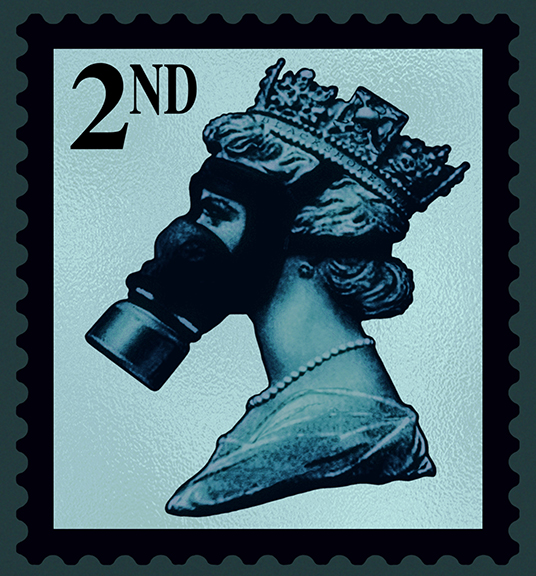 James Cauty Stamps of Mass Destruction queen in a gas mask SMD 2nd silver