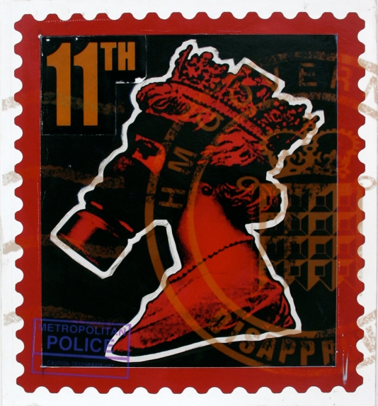 James Cauty Stamps of Mass Destruction queen in a gas mask 11